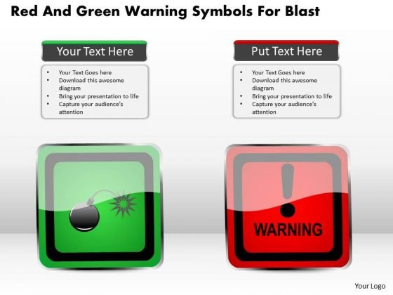 Business Diagram Red And Green Warning Symbols For Blast Presentation Template
