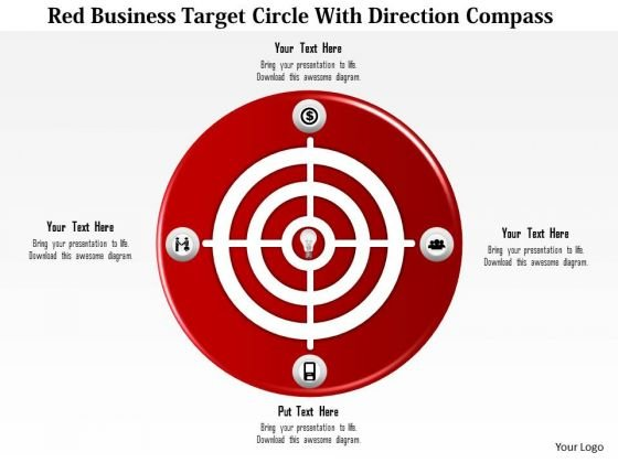 Business Diagram Red Business Target Circle With Direction Compass Presentation Template
