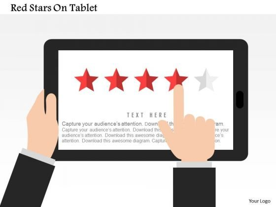 Business Diagram Red Stars On Tablet Presentation Template
