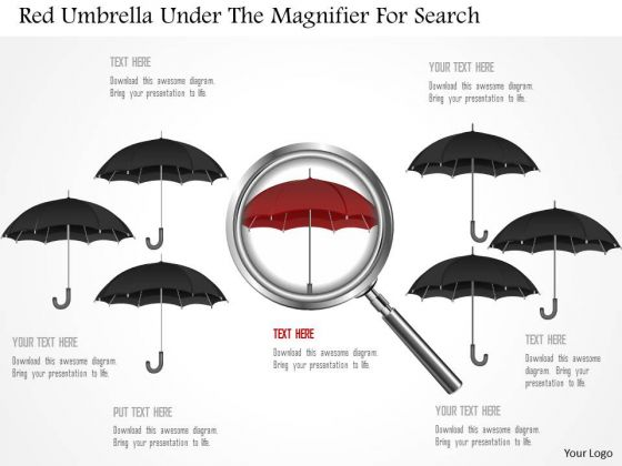 Business Diagram Red Umbrella Under The Magnifier For Search Presentation Template