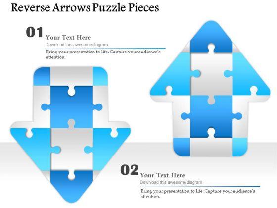 Business Diagram Reverse Arrows Puzzle Pieces Presentation Template