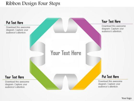 Business Diagram Ribbon Design Four Steps Presentation Template