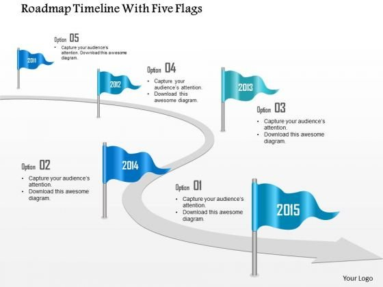 Business Diagram Roadmap Timeline With Five Flags Presentation Template