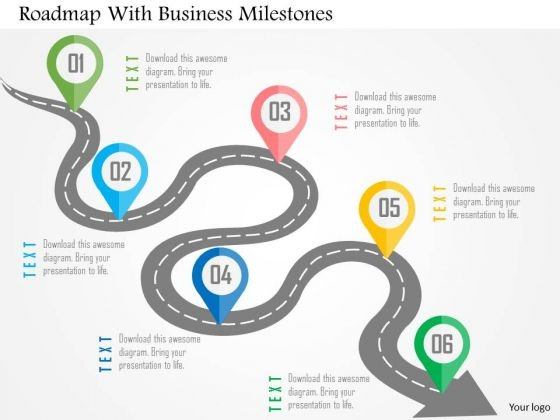 Business Diagram Roadmap With Business Milestones Presentation Template