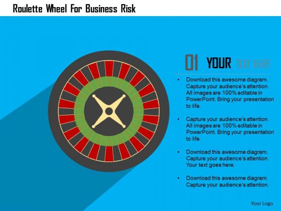 Business Diagram Roulette Wheel For Business Risk Presentation Template