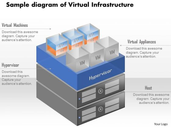 Business Diagram Sample Diagram Of Virtual Infrastructure With Vms Running On Hardware Ppt Slide