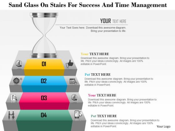 Business Diagram Sand Glass On Stairs For Success And Time Management Presentation Template