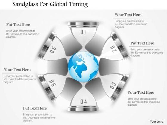 Business Diagram Sandglass For Global Timing Presentation Template