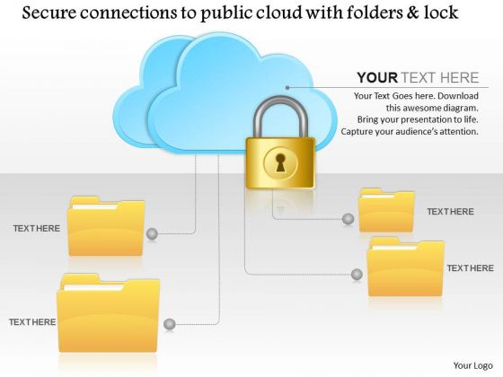 Business Diagram Secure Connections To The Public Cloud With Folders And Lock Ppt Slide