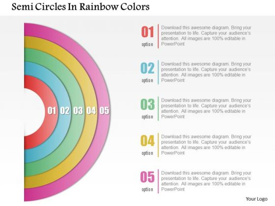 Business Diagram Semi Circles In Rainbow Colors Presentation Template 1 2