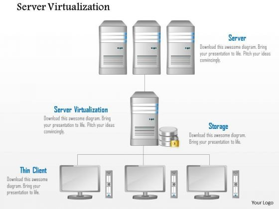 Business Diagram Server Virtulization Thin Client Storage And Database Ppt Slide