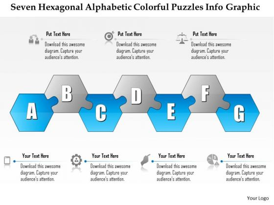 Business Diagram Seven Hexagonal Alphabetic Colorful Puzzles Info Graphic Presentation Template