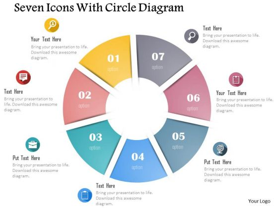 Business Diagram Seven Icons With Circle Diagram Presentation Template