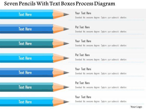 Business Diagram Seven Pencils With Text Boxes Process Diagram Presentation Template