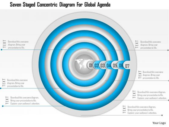 Business Diagram Seven Staged Concentric Diagram For Global Agenda Presentation Template