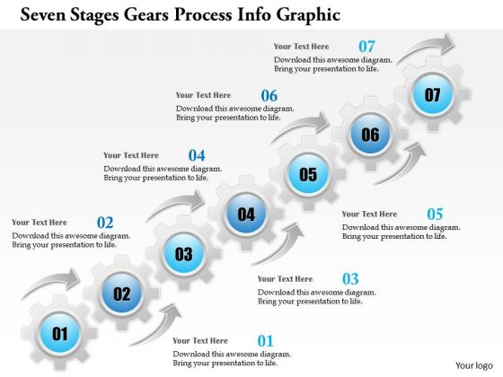 Business Diagram Seven Stages Gears Process Info Graphic Presentation Template
