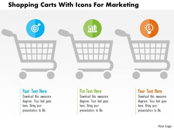 Business Diagram Shopping Carts With Icons For Marketing Presentation Template