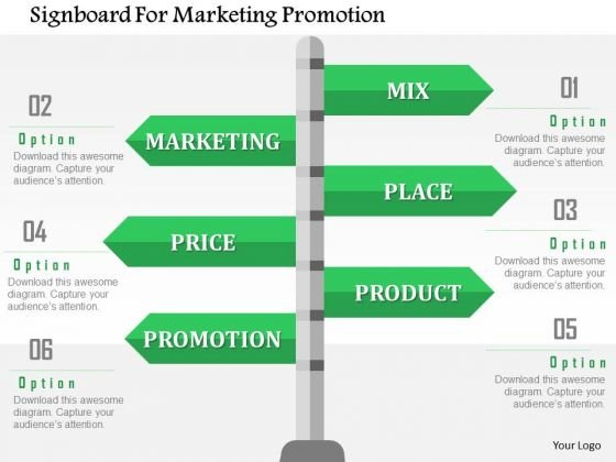 Business Diagram Signboard For Marketing Promotion Presentation Template