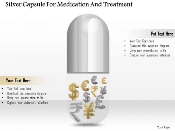 Business Diagram Silver Capsule For Medication And Treatment Presentation Template