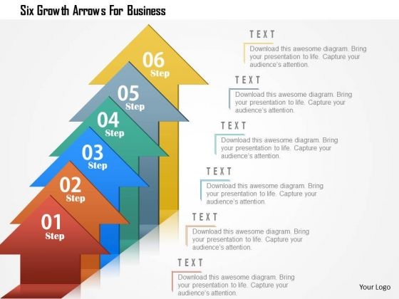 Business Diagram Six Growth Arrows For Business Presentation Template