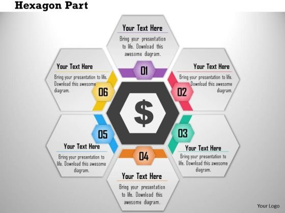 Business Diagram Six Hexagon Text Boxes In Cyclic Order Presentation Template