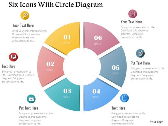 Business Diagram Six Icons With Circle Diagram Presentation Template