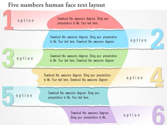 Business Diagram Six Numbers Human Face Text Layout Presentation Template