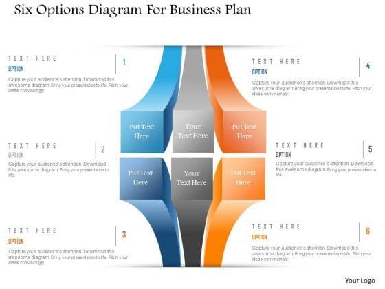 Business Diagram Six Options Diagram For Business Plan Presentation Template