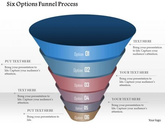 Business Diagram Six Options Funnel Process Presentation Template