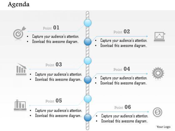 Business Diagram Six Points Vertical Timeline Agenda Presentation Template