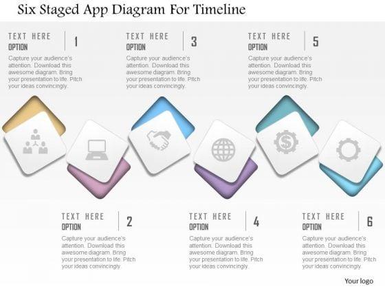 Business Diagram Six Staged App Diagram For Timeline Presentation Template
