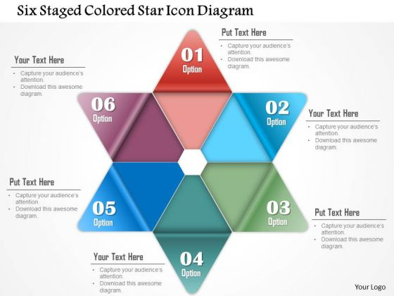 Business Diagram Six Staged Colored Star Icon Diagram PowerPoint Template
