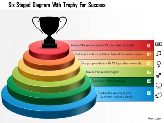 Business Diagram Six Staged Diagram With Trophy For Success Presentation Template