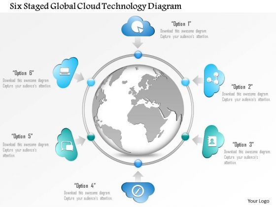 Business Diagram Six Staged Global Cloud Technology Diagram Presentation Template