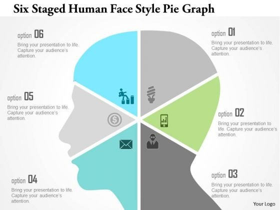 Business Diagram Six Staged Human Face Style Pie Graph Presentation Template