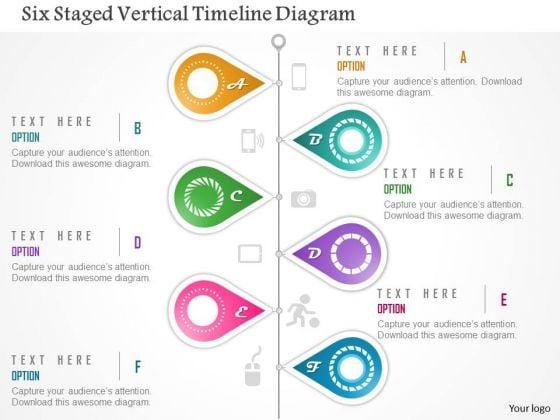 Business Diagram Six Staged Vertical Timeline Diagram Presentation Template