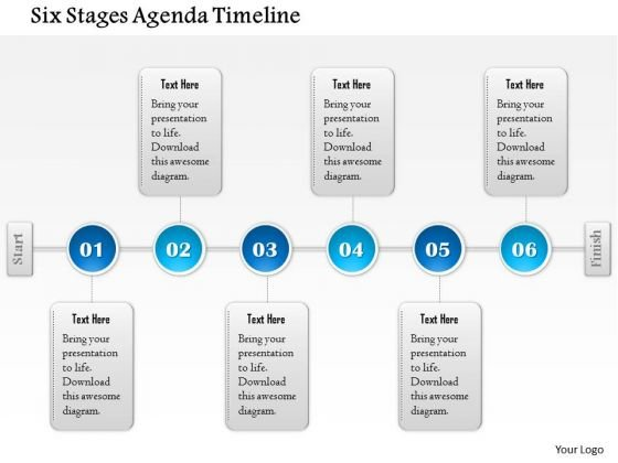 Business Diagram Six Stages Agenda Timeline Presentation Template