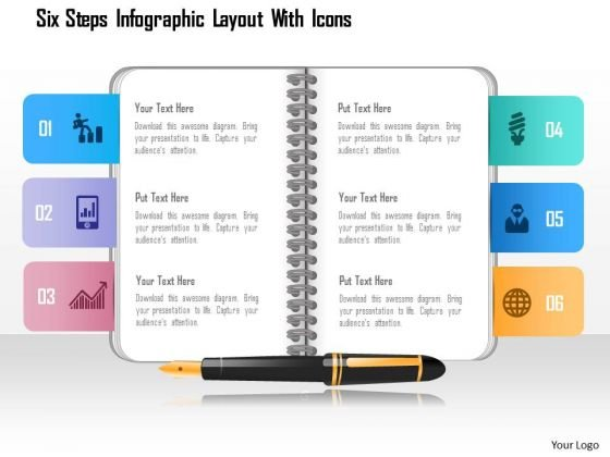 Business Diagram Six Steps Infographic Layout With Icons Presentation Template