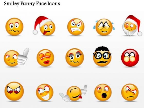 Business Diagram Smiley Funny Face Icons Presentation Template