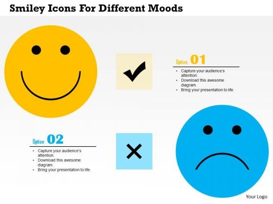 Business Diagram Smiley Icons For Different Moods Presentation Template