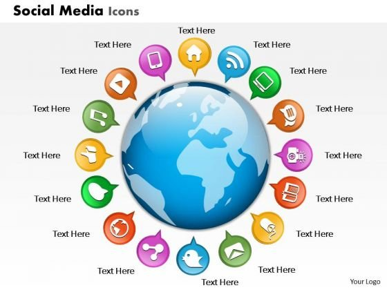 Business Diagram Social Media Icons Globe Presentation Template