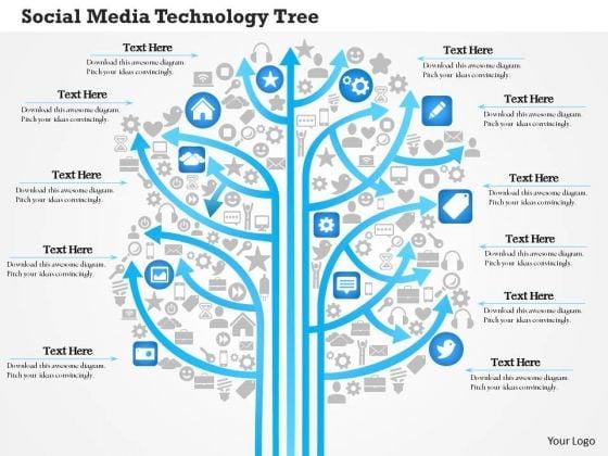 Business Diagram Social Media Technology Tree Showing Various Kinds Of Media Outlets Ppt Slide