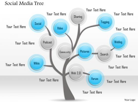 Business Diagram Social Media Tree With Various Ways To Share And