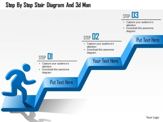 Business Diagram Step By Step Stair Diagram And 3d Man Presentation Template