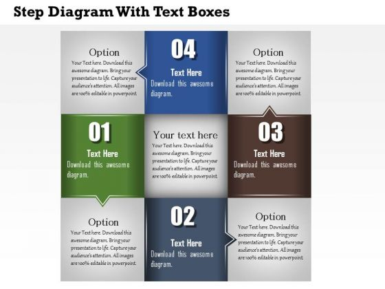 Business Diagram Step Diagram With Text Boxes Presentation Template