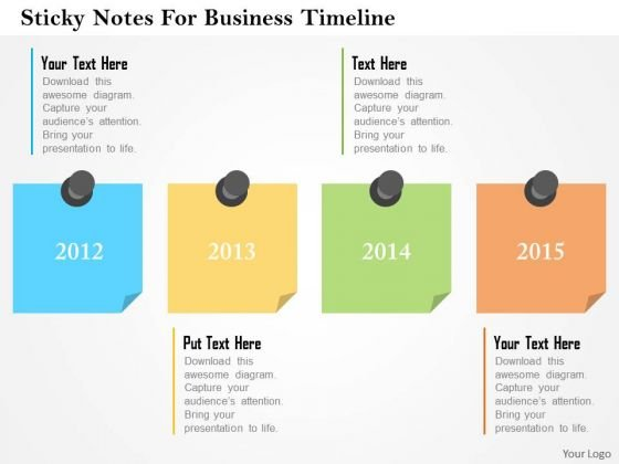 Business Diagram Sticky Notes For Business Timeline Presentation