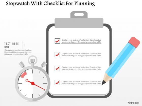 Business Diagram Stopwatch With Checklist For Planning Presentation Template