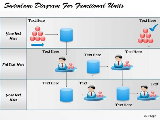 Business Diagram Swimlane Diagram For Functional Units Presentation Template