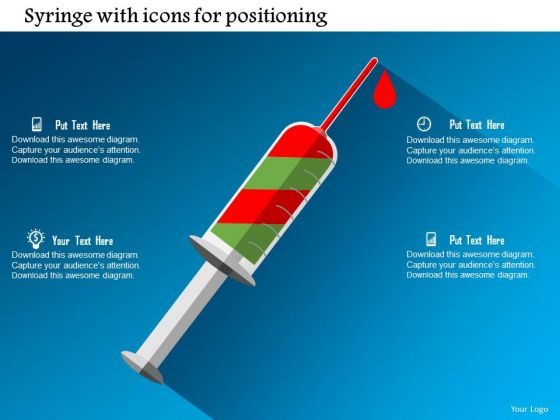 Business Diagram Syringe With Icons For Positioning Presentation Template