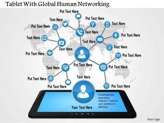 Business Diagram Tablet With Global Human Networking Presentation Template